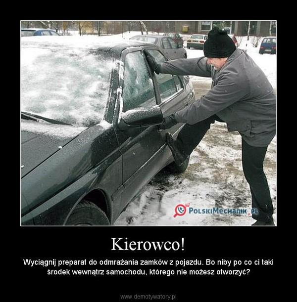 Kierowco! – Wyciągnij preparat do odmrażania zamków z pojazdu. Bo niby po co ci taki środek wewnątrz samochodu, którego nie możesz otworzyć?