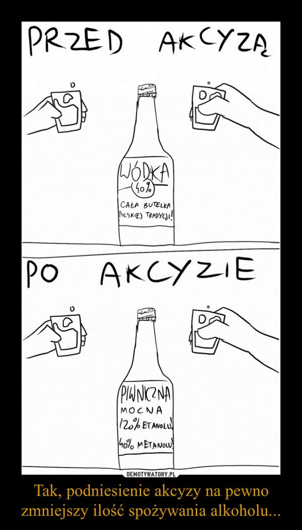 Tak, podniesienie akcyzy na pewno zmniejszy ilość spożywania alkoholu... –