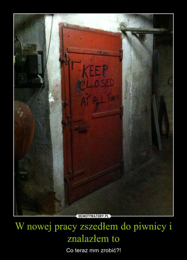 W nowej pracy zszedłem do piwnicy i znalazłem to – Co teraz mm zrobić?!