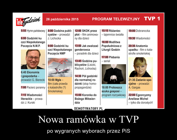 Nowa ramówka w TVP – po wygranych wyborach przez PiS