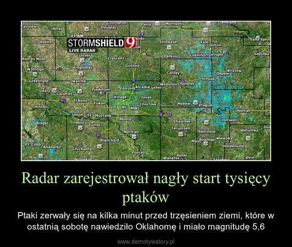 Radar zarejestrował nagły start tysięcy ptaków – Ptaki zerwały się na kilka minut przed trzęsieniem ziemi, które w ostatnią sobotę nawiedziło Oklahomę i miało magnitudę 5,6