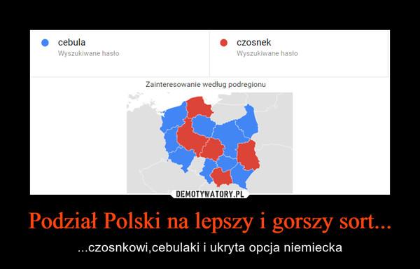 Podział Polski na lepszy i gorszy sort... – ...czosnkowi,cebulaki i ukryta opcja niemiecka