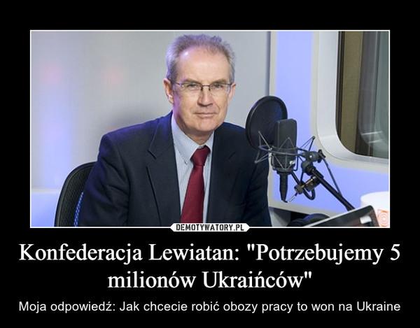 """Konfederacja Lewiatan: """"Potrzebujemy 5 milionów Ukraińców"""" – Moja odpowiedź: Jak chcecie robić obozy pracy to won na Ukraine"""