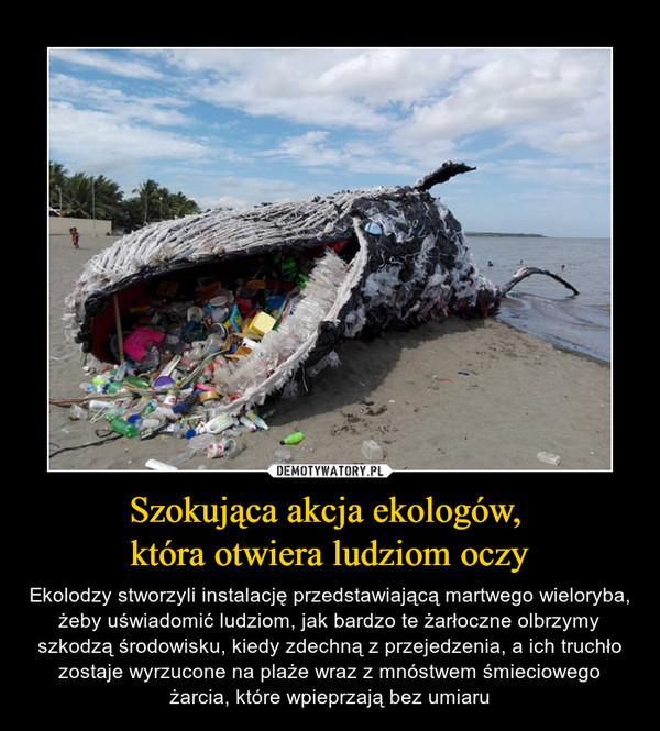 Szokująca akcja ekologów, która otwiera ludziom oczy – Ekolodzy stworzyli instalację przedstawiającą martwego wieloryba, żeby uświadomić ludziom, jak bardzo te żarłoczne olbrzymy szkodzą środowisku, kiedy zdechną z przejedzenia, a ich truchło zostaje wyrzucone na plaże wraz z mnóstwem śmieciowego żarcia, które wpieprzają bez umiaru