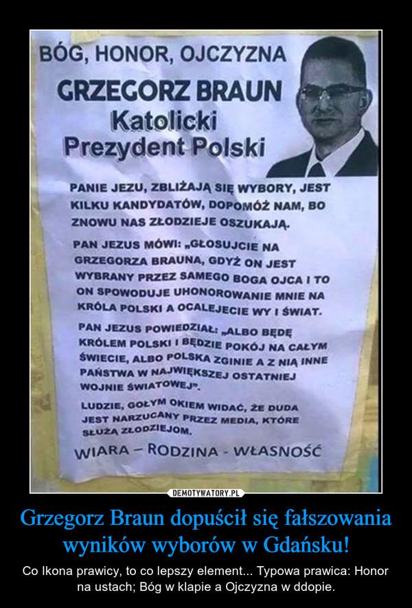 Grzegorz Braun dopuścił się fałszowania wyników wyborów w Gdańsku!