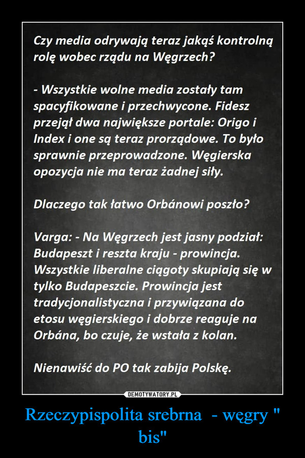 """Rzeczypispolita srebrna  - węgry """" bis"""" –"""