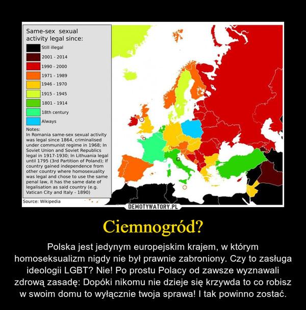 Ciemnogród? – Polska jest jedynym europejskim krajem, w którym homoseksualizm nigdy nie był prawnie zabroniony. Czy to zasługa ideologii LGBT? Nie! Po prostu Polacy od zawsze wyznawali zdrową zasadę: Dopóki nikomu nie dzieje się krzywda to co robisz w swoim domu to wyłącznie twoja sprawa! I tak powinno zostać.