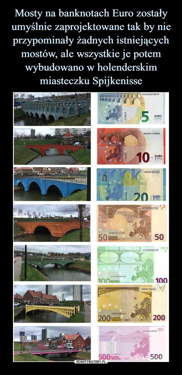 Mosty na banknotach Euro zostały umyślnie zaprojektowane tak by nie przypominały żadnych istniejących mostów, ale wszystkie je potem wybudowano w holenderskim miasteczku Spijkenisse