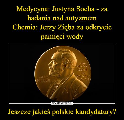 Medycyna: Justyna Socha - za badania nad autyzmem Chemia: Jerzy Zięba za odkrycie pamięci wody Jeszcze jakieś polskie kandydatury?
