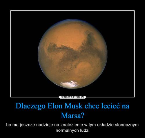 Dlaczego Elon Musk chce lecieć na Marsa?