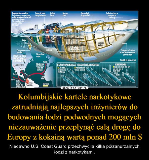 Kolumbijskie kartele narkotykowe zatrudniają najlepszych inżynierów do budowania łodzi podwodnych mogących niezauważenie przepłynąć całą drogę do Europy z kokainą wartą ponad 200 mln $ – Niedawno U.S. Coast Guard przechwyciła kilka półzanurzalnych łodzi z narkotykami.