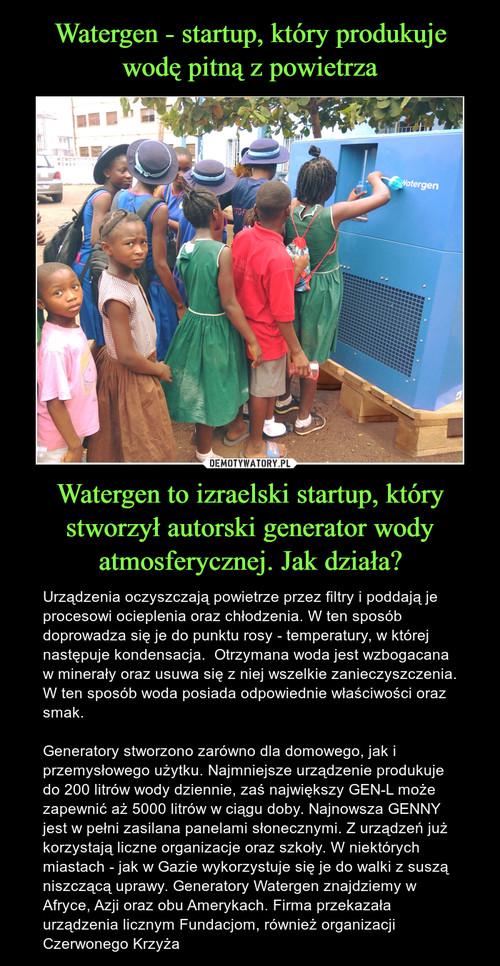 Watergen - startup, który produkuje wodę pitną z powietrza Watergen to izraelski startup, który stworzył autorski generator wody atmosferycznej. Jak działa?