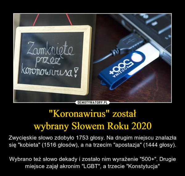 """""""Koronawirus"""" zostałwybrany Słowem Roku 2020 – Zwycięskie słowo zdobyło 1753 głosy. Na drugim miejscu znalazła się """"kobieta"""" (1516 głosów), a na trzecim """"apostazja"""" (1444 głosy).Wybrano też słowo dekady i zostało nim wyrażenie """"500+"""". Drugie miejsce zajął akronim """"LGBT"""", a trzecie """"Konstytucja"""""""