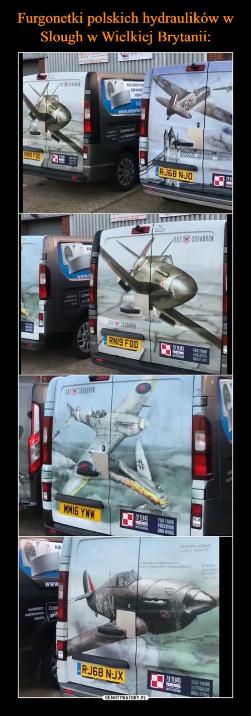 Furgonetki polskich hydraulików w Slough w Wielkiej Brytanii: