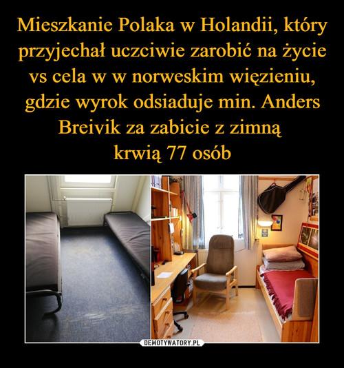 Mieszkanie Polaka w Holandii, który przyjechał uczciwie zarobić na życie vs cela w w norweskim więzieniu, gdzie wyrok odsiaduje min. Anders Breivik za zabicie z zimną  krwią 77 osób