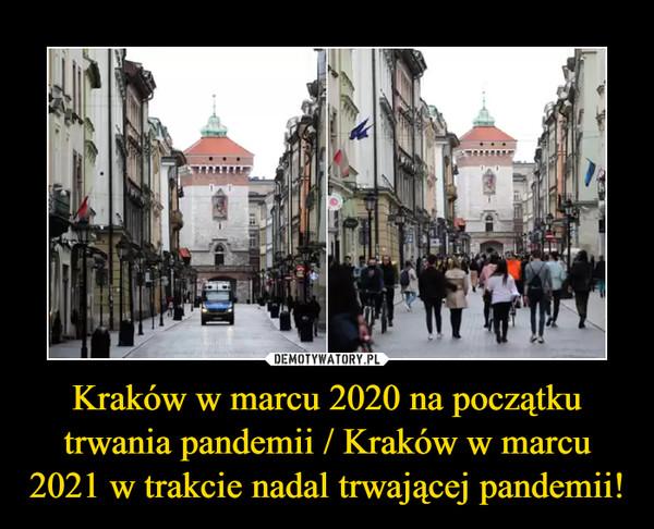 Kraków w marcu 2020 na początku trwania pandemii / Kraków w marcu 2021 w trakcie nadal trwającej pandemii! –