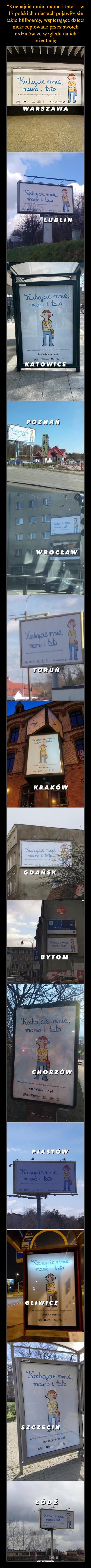"""""""Kochajcie mnie, mamo i tato"""" - w 17 polskich miastach pojawiły się takie billboardy, wspierające dzieci niekaceptowane przez swoich rodziców ze względu na ich orientację"""