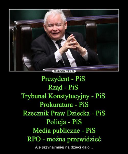 Prezydent - PiS  Rząd - PiS  Trybunał Konstytucyjny - PiS  Prokuratura - PiS Rzecznik Praw Dziecka - PiS Policja - PiS Media publiczne - PiS RPO - można przewidzieć