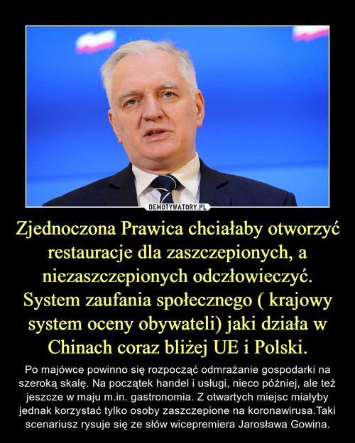 Zjednoczona Prawica chciałaby otworzyć restauracje dla zaszczepionych, a niezaszczepionych odczłowieczyć. System zaufania społecznego ( krajowy system oceny obywateli) jaki działa w Chinach coraz bliżej UE i Polski.