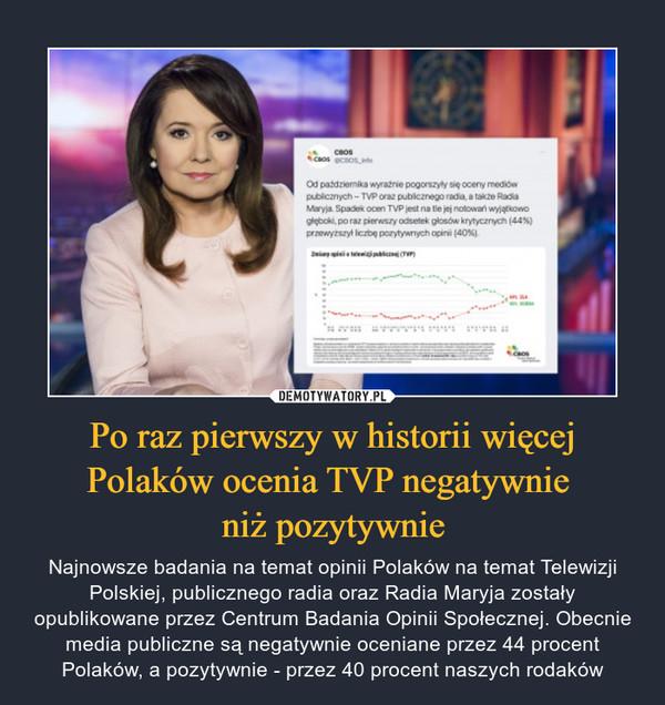 Po raz pierwszy w historii więcej Polaków ocenia TVP negatywnie niż pozytywnie – Najnowsze badania na temat opinii Polaków na temat Telewizji Polskiej, publicznego radia oraz Radia Maryja zostały opublikowane przez Centrum Badania Opinii Społecznej. Obecnie media publiczne są negatywnie oceniane przez 44 procent Polaków, a pozytywnie - przez 40 procent naszych rodaków