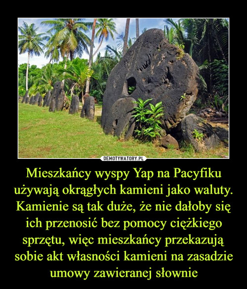 Mieszkańcy wyspy Yap na Pacyfiku używają okrągłych kamieni jako waluty. Kamienie są tak duże, że nie dałoby się ich przenosić bez pomocy ciężkiego sprzętu, więc mieszkańcy przekazują sobie akt własności kamieni na zasadzie umowy zawieranej słownie