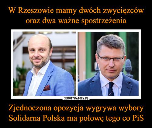 W Rzeszowie mamy dwóch zwycięzców oraz dwa ważne spostrzeżenia Zjednoczona opozycja wygrywa wybory Solidarna Polska ma połowę tego co PiS