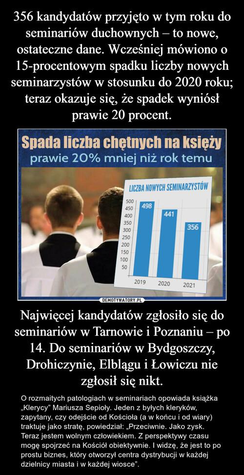 356 kandydatów przyjęto w tym roku do seminariów duchownych – to nowe, ostateczne dane. Wcześniej mówiono o 15-procentowym spadku liczby nowych seminarzystów w stosunku do 2020 roku; teraz okazuje się, że spadek wyniósł prawie 20 procent. Najwięcej kandydatów zgłosiło się do seminariów w Tarnowie i Poznaniu – po 14. Do seminariów w Bydgoszczy, Drohiczynie, Elblągu i Łowiczu nie zgłosił się nikt.