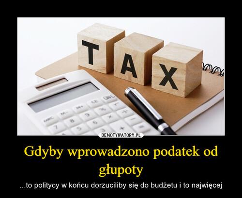 Gdyby wprowadzono podatek od głupoty